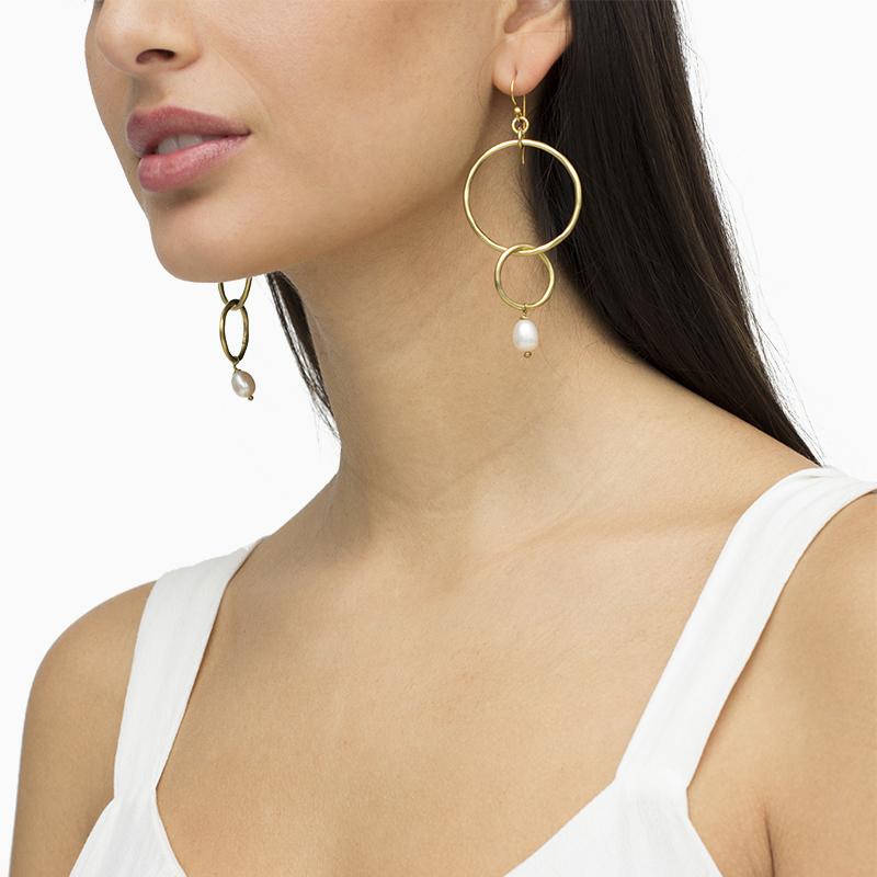 Pendientes maxi de bronce aros y perla